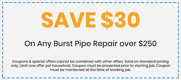 Discount on Burst Pipe Repair