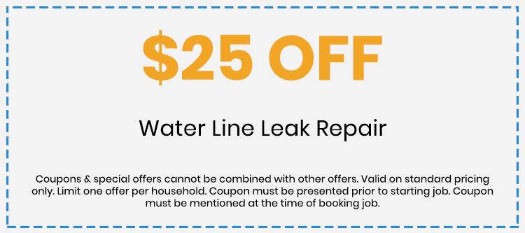 Discount on Water Line Leak Repair
